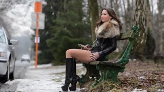 Repeat youtube video Sexy Julie Skyhigh in leather jacket and high heel knee high boots