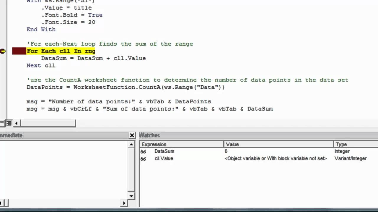 Excel vba debug with the watch window youtube excel vba debug with the watch window ibookread PDF