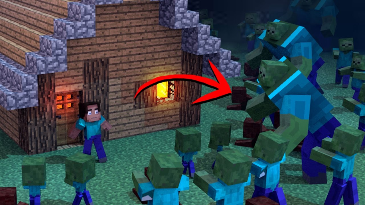 Minecraft  ZOMBIE APOCALYPSE REACHES MY HOUSE - Zombie Mod! (zombies in  Minecraft)