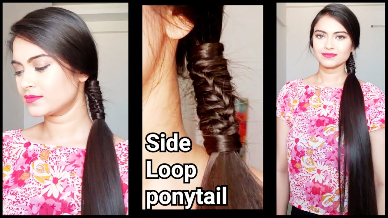 side loop ponytail//easy hairstyles for medium to long hair//indian hairstyles for straight hair