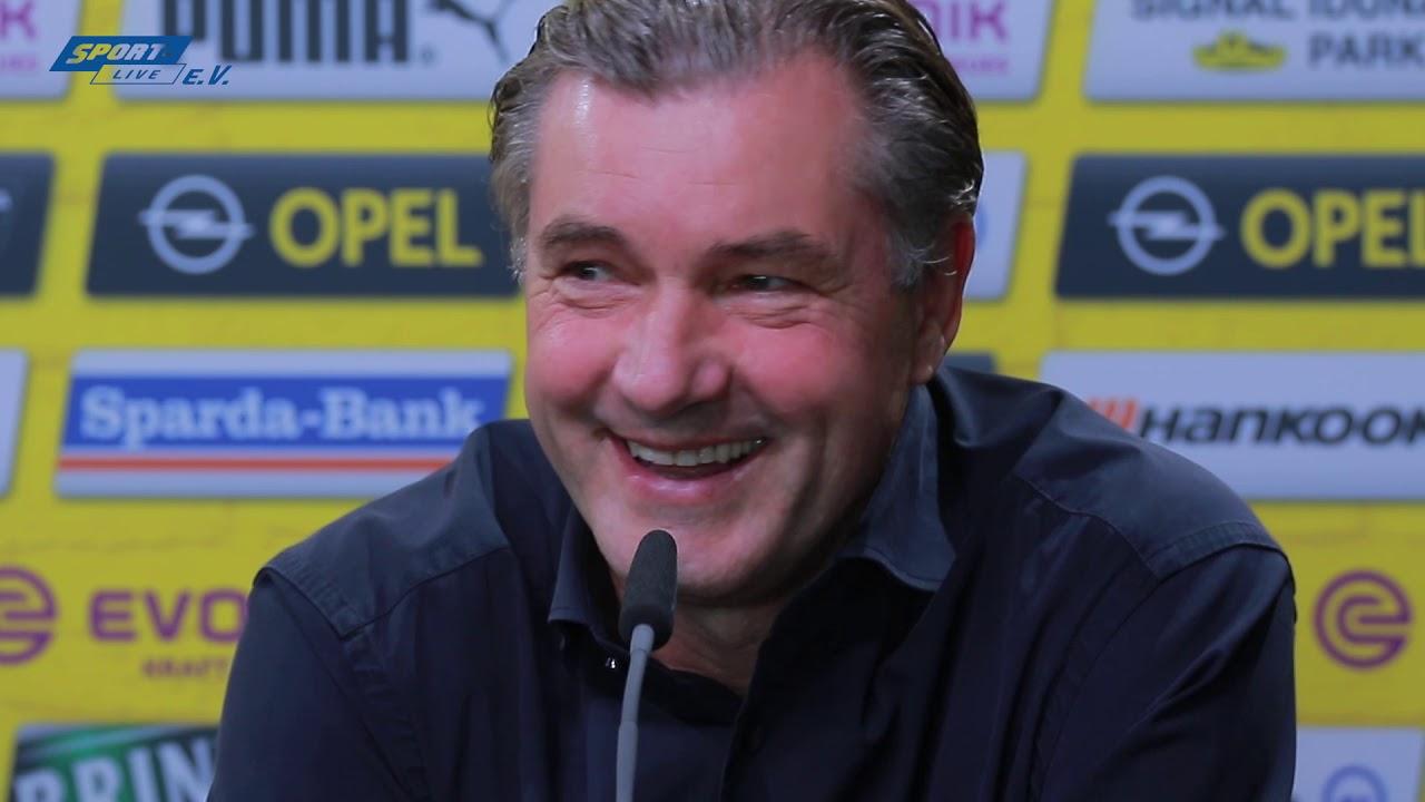 BVB-PK mit Favre und Zorc vor dem Gladbach-Spiel
