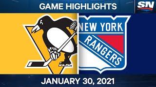NHL Game Highlights   Penguins vs. Rangers - Jan. 29, 2021