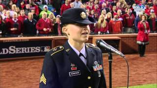 God Bless America 2013 World Series Game 4 in St. Louis MO Army Sgt. Christine Permenter Baseball
