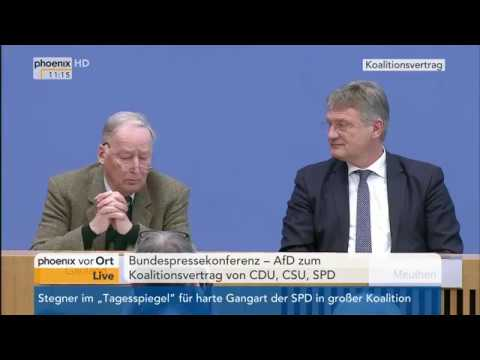 Jörg Meuthen und Alexander Gauland zum Koalitionsvertrag von CDU, CSU und SPD