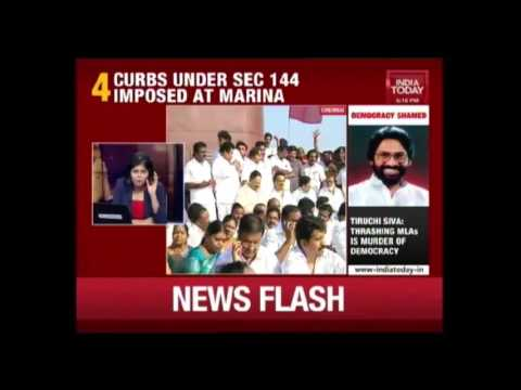 Chennai Police Have Detained AIDMK Leader Stalin From Marina Beach