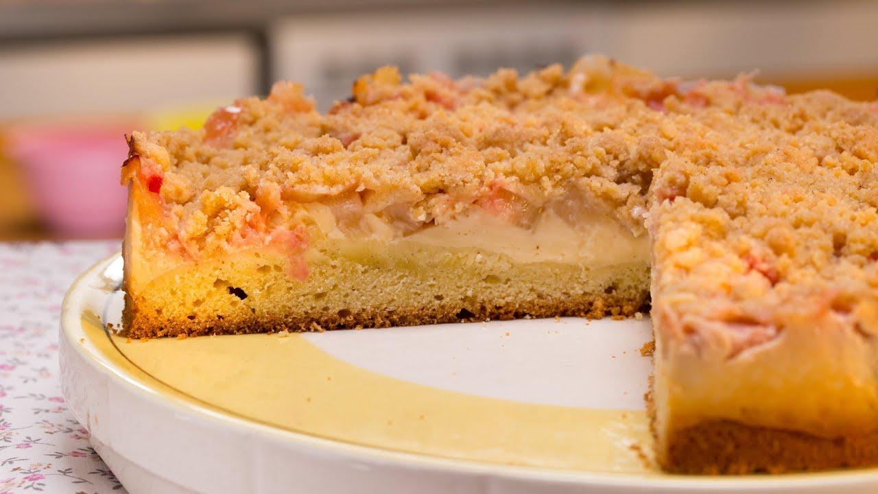 Rhabarberkuchen Mit Vanillecreme Und Streuseln Backen Einfach