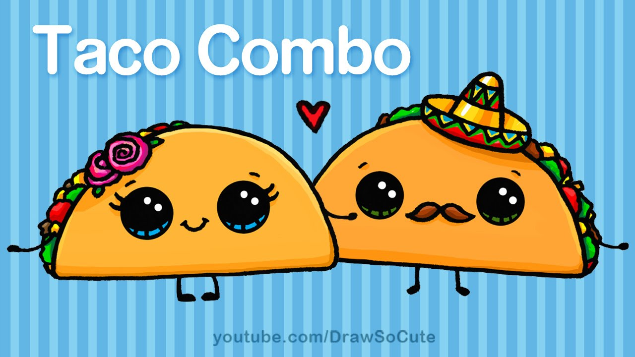 how to draw cartoon tacos cute step by step easy cute