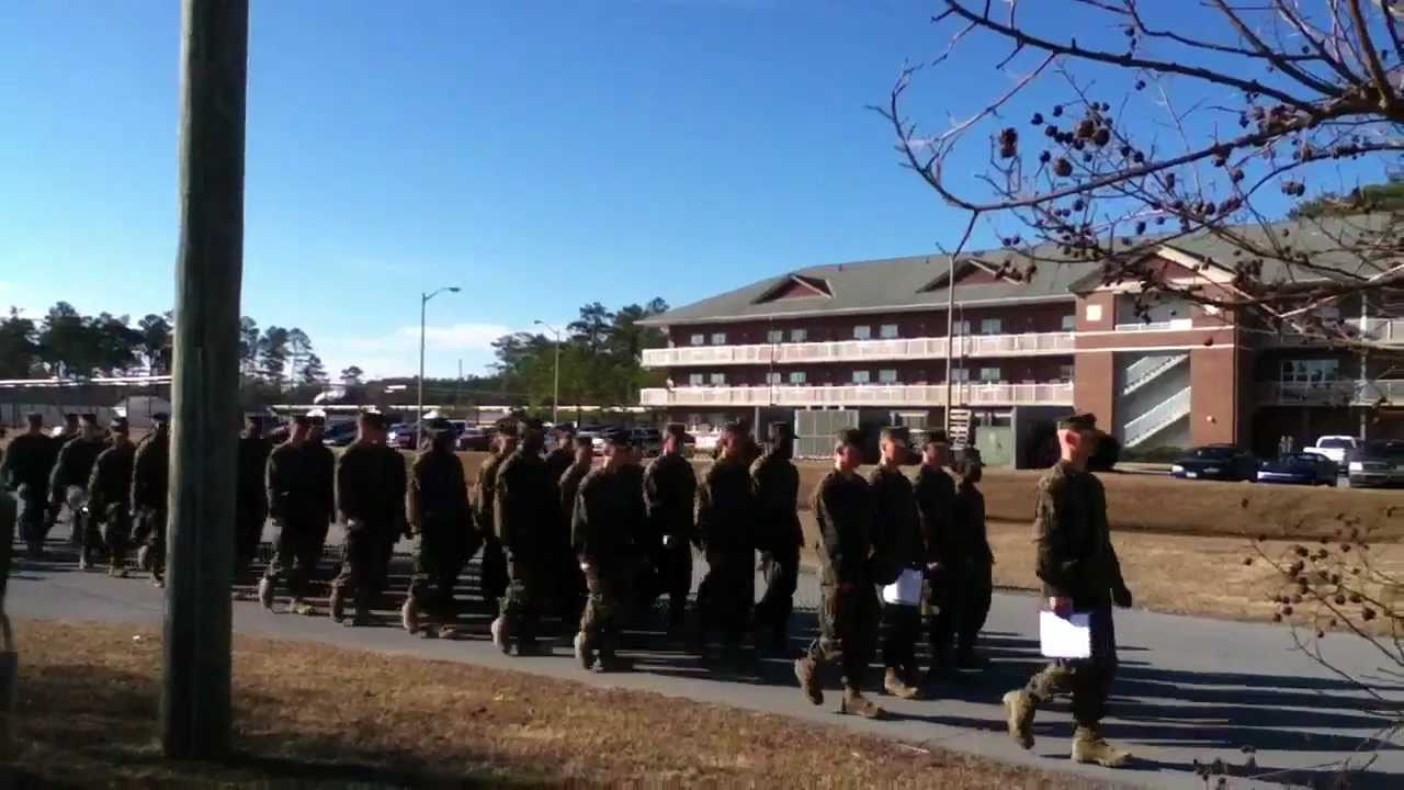 Marines Marching at camp camp Geiger NC - YouTube