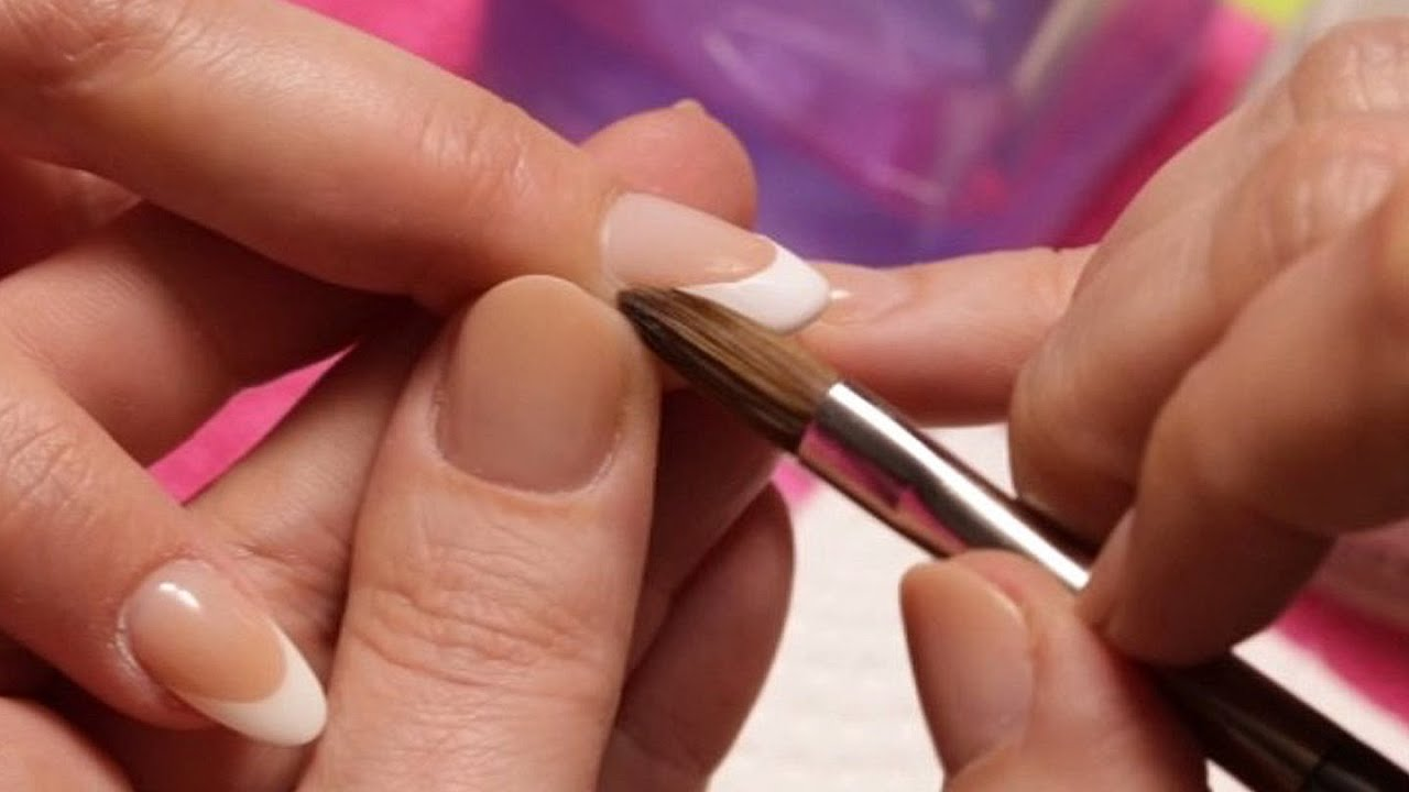 Acrylic Nails - How To Fill French Acrylic Nails - YouTube