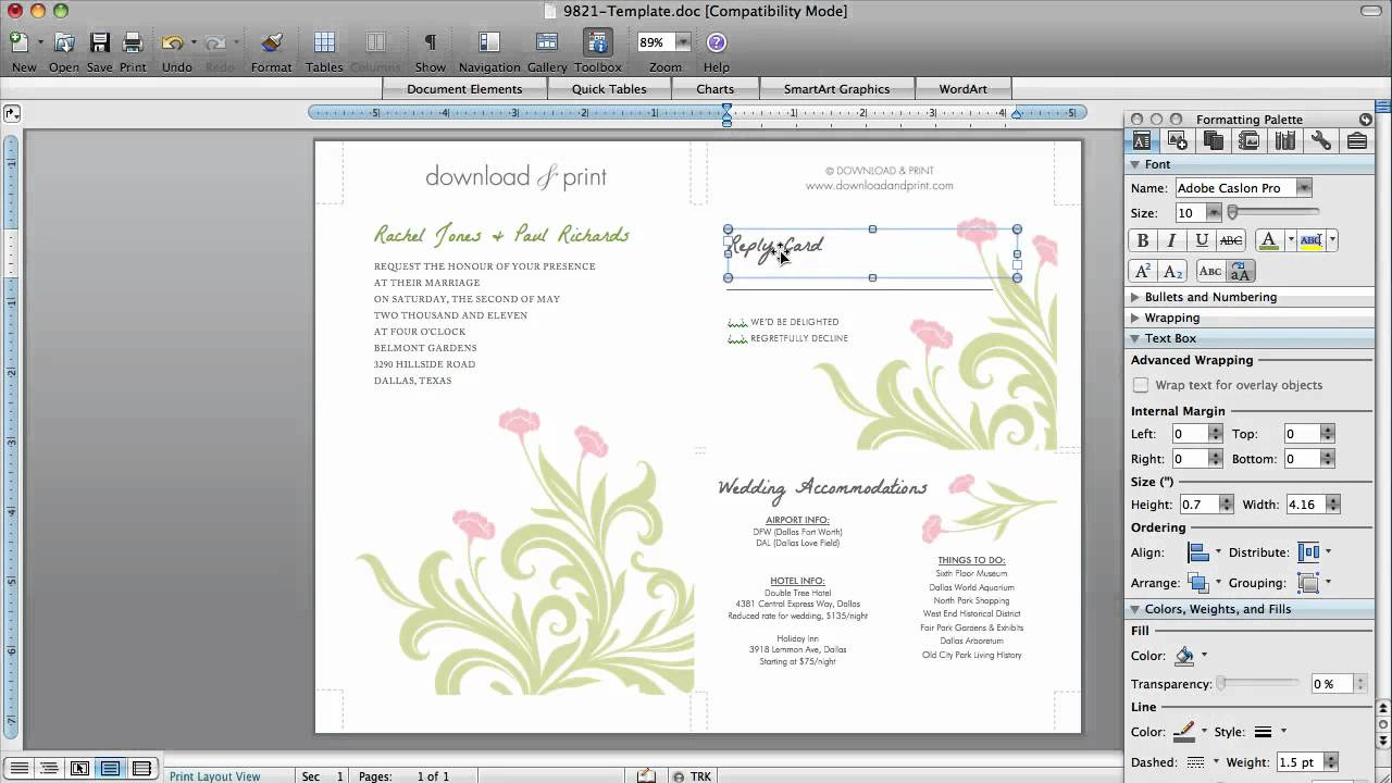 How to Make Wedding Invitations in Microsoft Word YouTube – Creating Invitation Cards