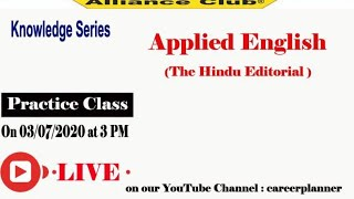 Knowledge Series, Practice Class of Applied English, The Hindu Editorial on 03.07.2020 live