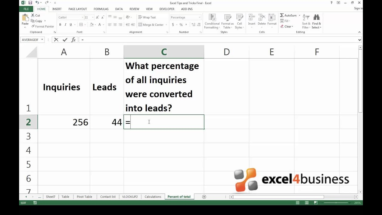 how to put percentage formula in excel 2007