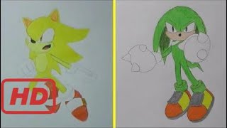 How to Draw Super Sonic vs Chaos Knuckles  - Sonic The Hedgehog