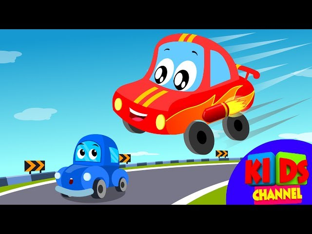 Little Red Car Rhymes  - Car Race Song   Car Cartoons    Rhymes for Kids