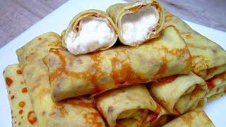 Блины с Творожно - Банановой Начинкой/ Pancakes with Curd - Banana Filling
