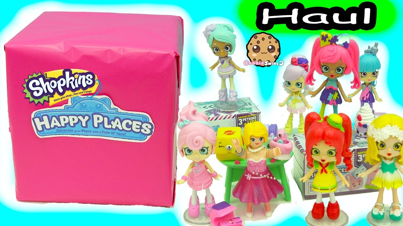 Box Of Happy Places Shoppies Dolls with Exclusive Shopkins Petkins + Surprise Blind Bags