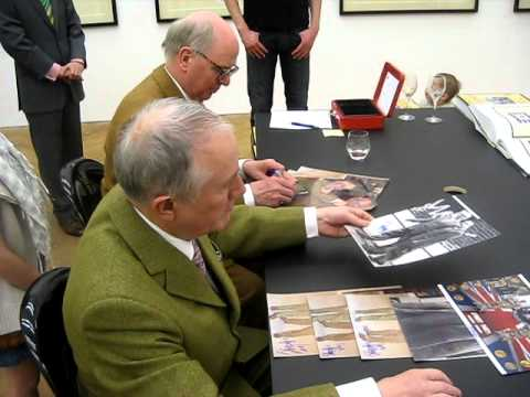 Gilbert & George signing autographs at gallery in Hamburg February 2011