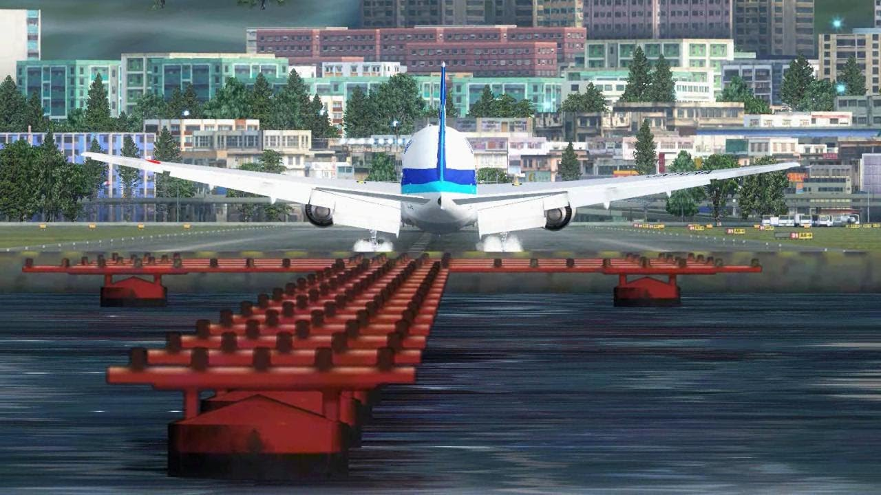 FSX ANA Boeing 777 Landing @ Kai Tak Runway 31 ( HD ) - Hessen Moheb
