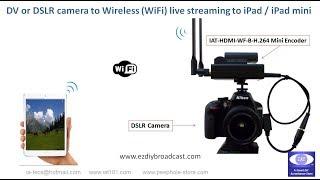 Wireless (WiFi) live streaming to iPad / iPad mini / iPhone (iOS)  from a DV or DSLR camera
