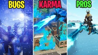 RIDING The New FROSTWING Glider! WINTER Season 6! - BUGS vs KARMA vs PROS - Fortnite Funny Moments