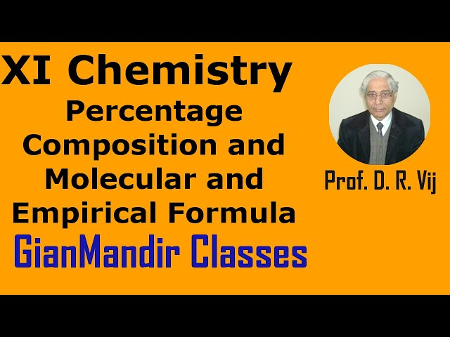 XI Chemistry | Percentage Composition and Molecular and Empirical Formula by Ruchi Ma'am