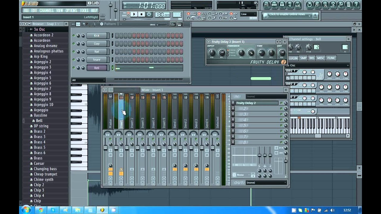 FL STUDIO 11 TUTORIAL - HOW TO ADD EFFECTS INTO YOUR MUSIC - MIXER