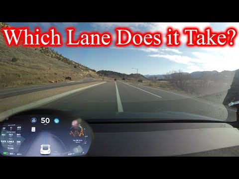 Driving with Tesla AutoPilot Update 2017.46.... What Lane Does it Take?