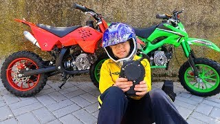 New Dirt Cross Bike is BROKEN! HELP DAD! Baby Ride on Power Wheel Pocket Bike Magic