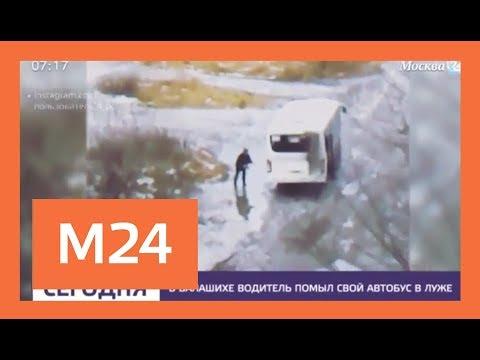 Водитель из Балашихи помыл свой автобус в луже