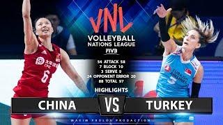 China Vs Turkey | Highlights | Final Round Pool A | Women's VNL 2019