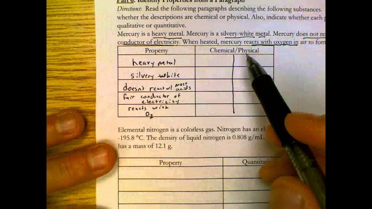Properties of Matter Worksheet YouTube – Physical Properties of Matter Worksheet