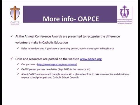 Webinar for Catholic School Council OAPCE Representatives