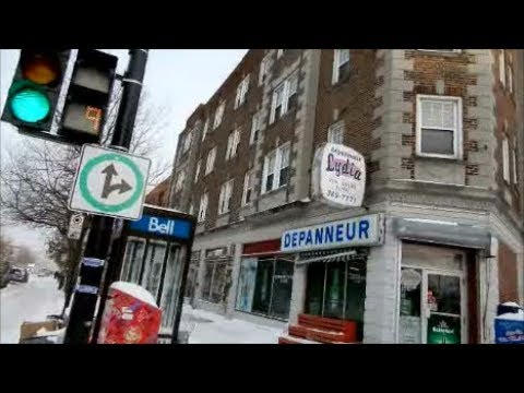WALKING SHERBROOKE ST. IN N.D.G. MONTREAL - FREEZING COLD AFTERNOON - 01-05-18