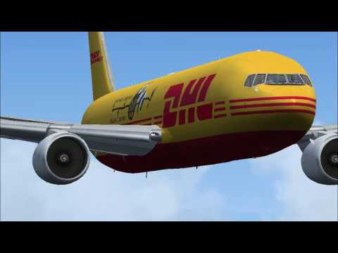 DHL Cargo Boeing 767 Rainy Take off From Shanghai Pudong to Abu Dhabi