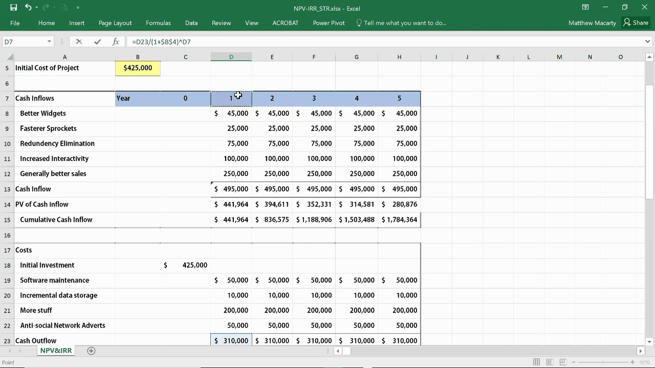 How To Calculate Npv Irr Roi In Excel Net Present Value