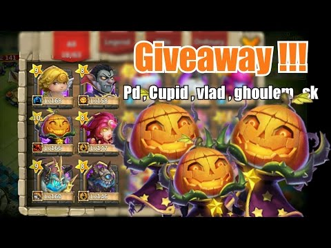 Castle Clash Pumpkin Duke , Cupid , Vlad , Sk , Ghoulem , Valentina Account Giveaway