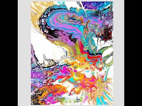 Dynamic! Dollar Store DUSTPAN Ribbon Pour Tilted Fluid Acrylic Artwork #3011-6.26.18