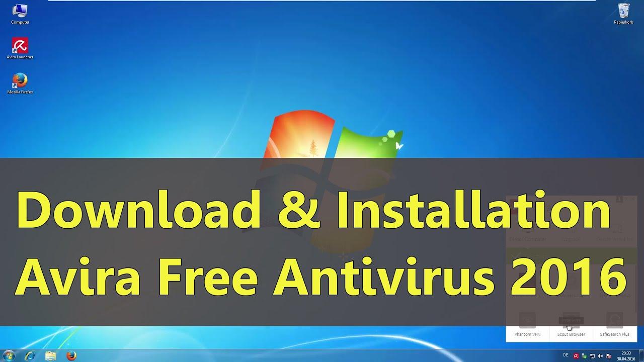 Download & Installation Avira Free Antivirus 2016 (Tutorial Deutsch)