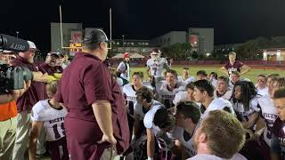 Grant Thompson addresses his Eagles after falling to Edgewater