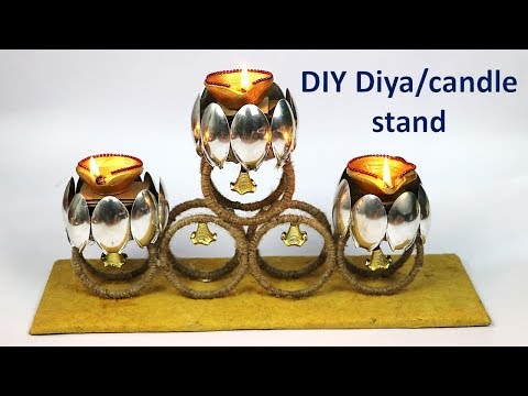 Diya stand making from waste bangle || waste bangle reuse || best out of waste  | DIY candle stand