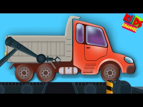 cartoon dump truck vehicle in toy factory for children by Kids Channel