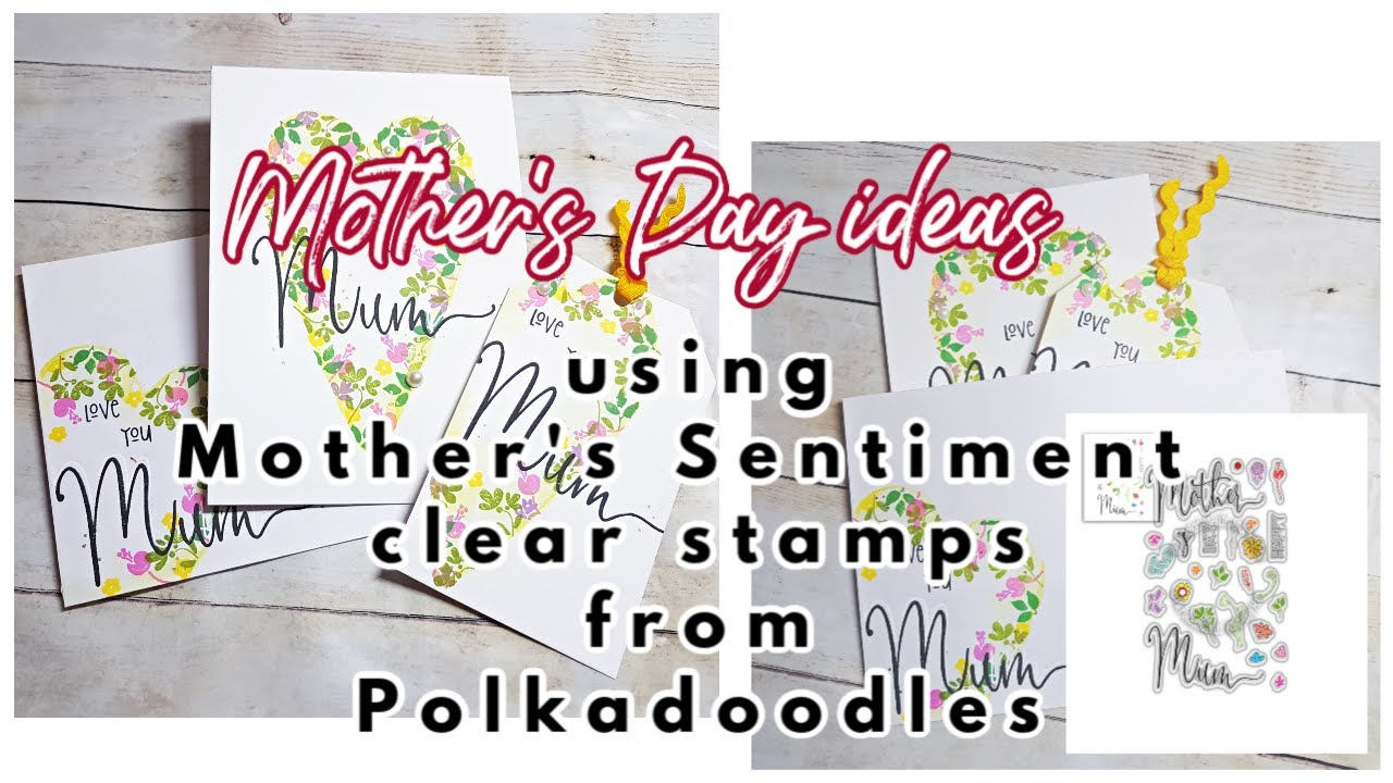 Mother's Day card, matching envelope & tag - Polkadoodles Transitions layering stamps