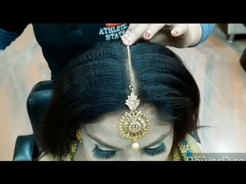 real-party-bun-hairstyle-&-tikka-setting-for-beginner//-step-by-step-easy-&-simple-method