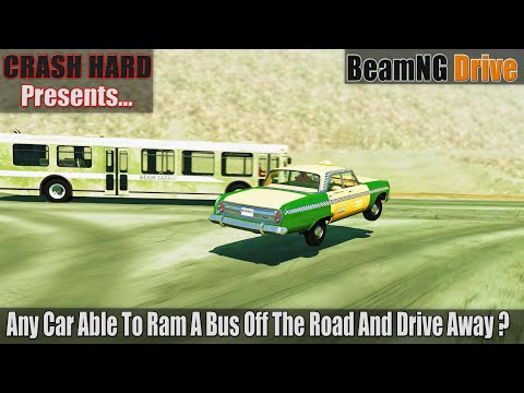 BeamNG Drive - Any Car Able To Ram A Bus Off The Road And Drive Away ?