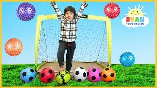 learn colors with balls for children  toddlers  and babies  colours for kids with soccers balls
