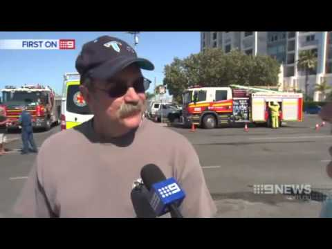 Fire forced Gold Coast house boat owner to jump for his life
