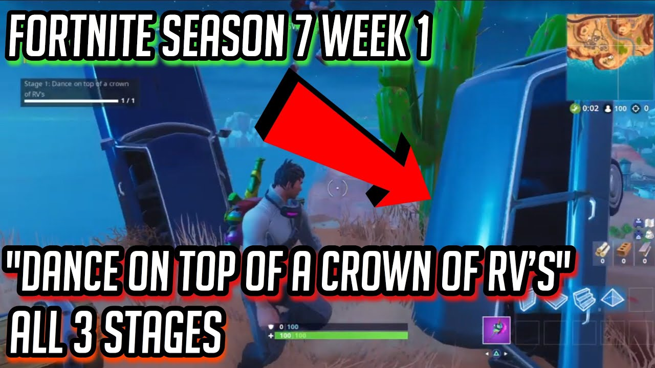 Dance On Top Of A Crown Of Rv S All 3 Stages Fortnite Season 7