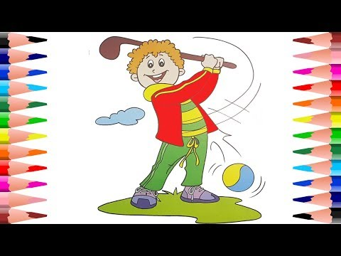 Coloring Pages for Kids Coloring Kids Playing Golf - Playing and Painting Golf Player