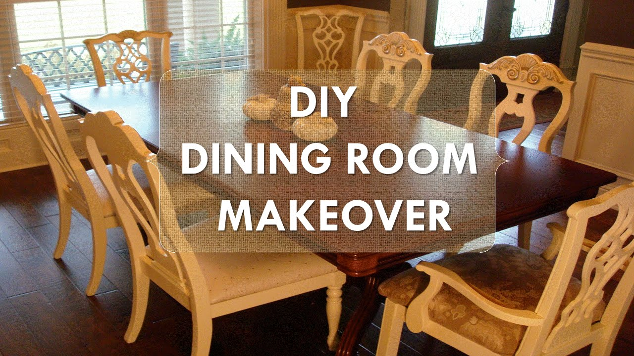 "Old Wood Dining Room Chairs diy dining room makeover ""just chalk paint & fabric"" - youtube"