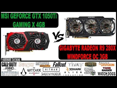 NVIDIA GeForce GTX 1050 TI VS AMD Radeon R9 280X - Full HD e 4K (Desempenho em Jogos)